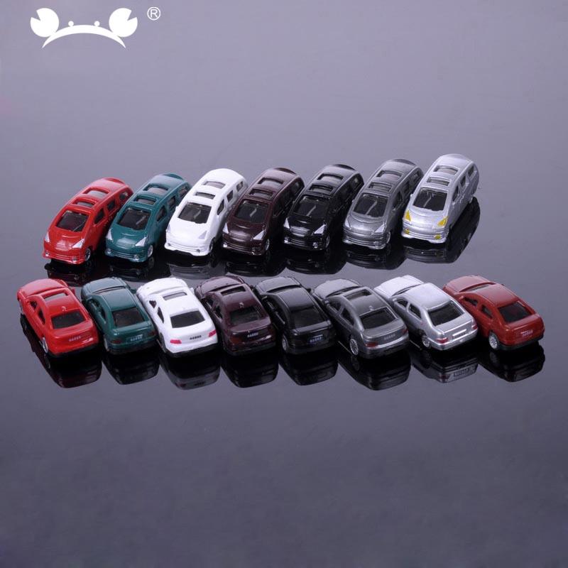 50pcs/lot 1/200 Scale Plastic Model Car Miniatures For Model Building Materials Train Layout Railway Modeling Car