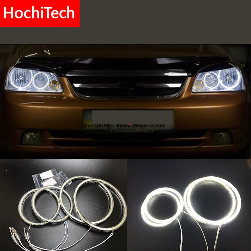 HochiTech for Chevrolet Lacetti Optra Nubira 2002 2008 Ultra bright SMD white LED angel eyes 2600LM halo ring kit daytime light
