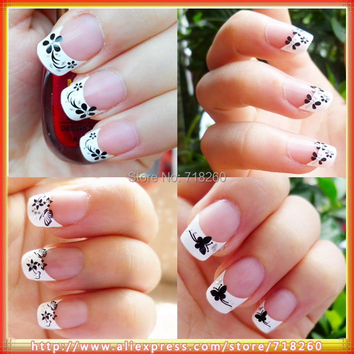 Samples French Wrap Nail Tip 3D Stickers Manicure Nail Art Designs ...