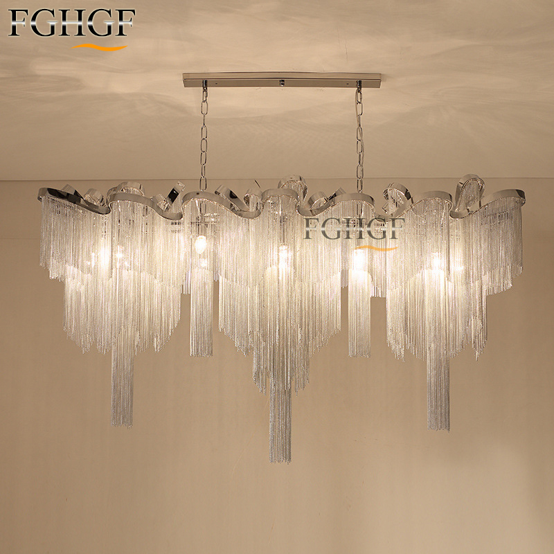 New Aluminum Chain Chandelier Light Fixture Vintage Empire Suspension Lamp French Chain Hanging Lustre Living room Restaurant