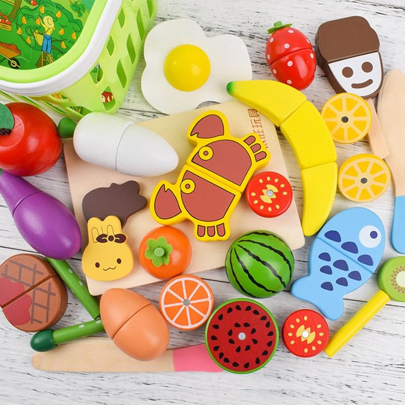 22 детские деревянные Еда игрушка Кухня симулировать игрушка реальной жизни деревянный овощей и фруктов с магнит к обучению Пособия по кули...