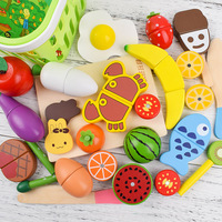 Baby Wooden Food Toy Kitchen Pretend Toy Real Life Wooden Vegetables Fruits with Magnet to Learning Cooking Educational Toy