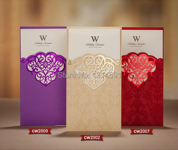 50sets 2015 New 3 color Wedding Invitations 3 fold Paper Blank Inner