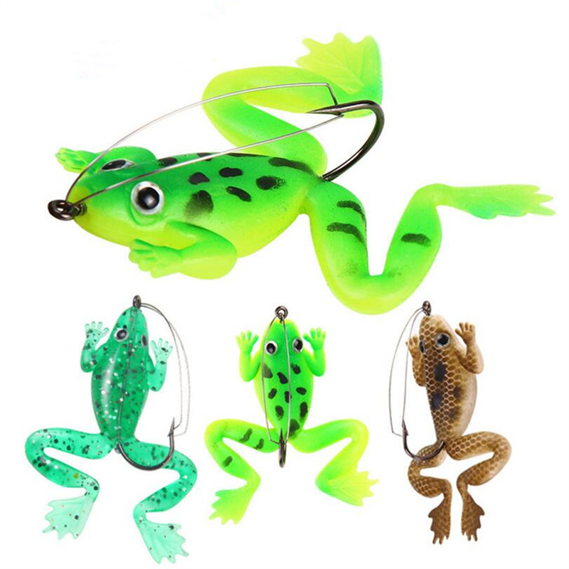 1 PCS Frog Fishing Bait 6cm/5.2 G Rubber Soft Bait 3 Colors Worm Plastic Fish Off The Hook Artificial Bait Fishing Tackle