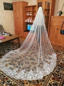 Image 5 - Romantic 3 M Wedding Veil Cathedral One Layer Lace Appliqued  Long Bridal Veils With Comb Woman Marry Gifts 2018 New Accessories