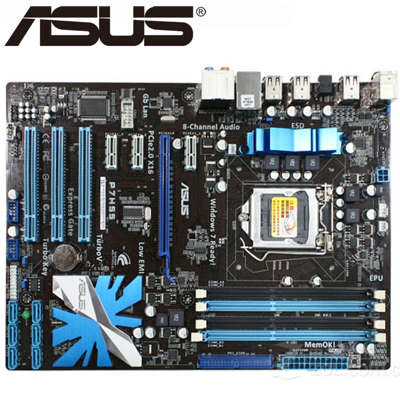 Asus P7H55 Desktop Motherboard H55 Socket LGA 1156 i3 i5 i7 DDR3 16G ATX UEFI BIOS Original Used Mainboard On Sale asus p5ql cm desktop motherboard g43 socket lga 775 q8200 q8300 ddr2 8g u atx uefi bios original used mainboard on sale