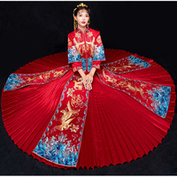 Traditional Chinese Wedding Gown Dress Women Cheongsam Dragon Phoenix Embroidery Qipao Oriental Party Dresses Red Qi Pao