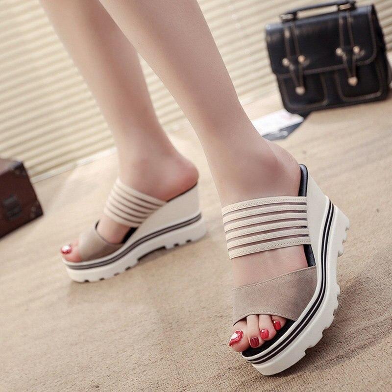 Image 2 - Women Summer Slippers Wedges Paltform Slides Female Black Height Increasing Sandals Woman Open Toes High Heel Shoes SH021804Slippers   -