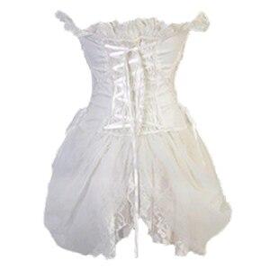 Image 4 - FLORATA beyaz Overbust bel eğitmen korseler elbise Steampunk gotik giyim Burlesque kostümleri kadınlar için 50% kapalı tasfiye satışı