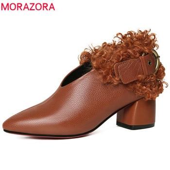 MORAZORA 2020 big size 33-43 newest pumps women shoes genuine leather autumn winter shoes buckle high heels shoes woman black