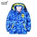 Мальчик ветровка с длинным рукавом весна ветровка ребенок Пальто Камуфляж куртка С Капюшоном теплая Одежда для детей Дети куртки