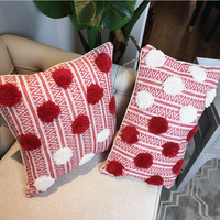 Cute Dots Cushion Cover Pillow Case Wool Handmade For Sofa Seat Moroccan Style Home Decorative Fringe 45x45cm/30x50cm Zip Open