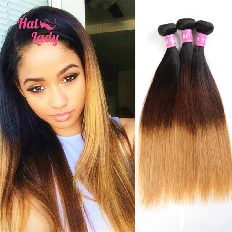 Ombre 3 Three Tone Brazilian Straight Human Hair Extensions 3pcs Lot