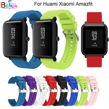 20mm sport silicone watch band strap For Huami xiaomi Amazfit youth Bit smart watch For Samsung S2 replacement 20mm watchband 20mm nylon sport strap watchband for huami amazfit bip youth smart watch replacement comfortable wristband watch band strap
