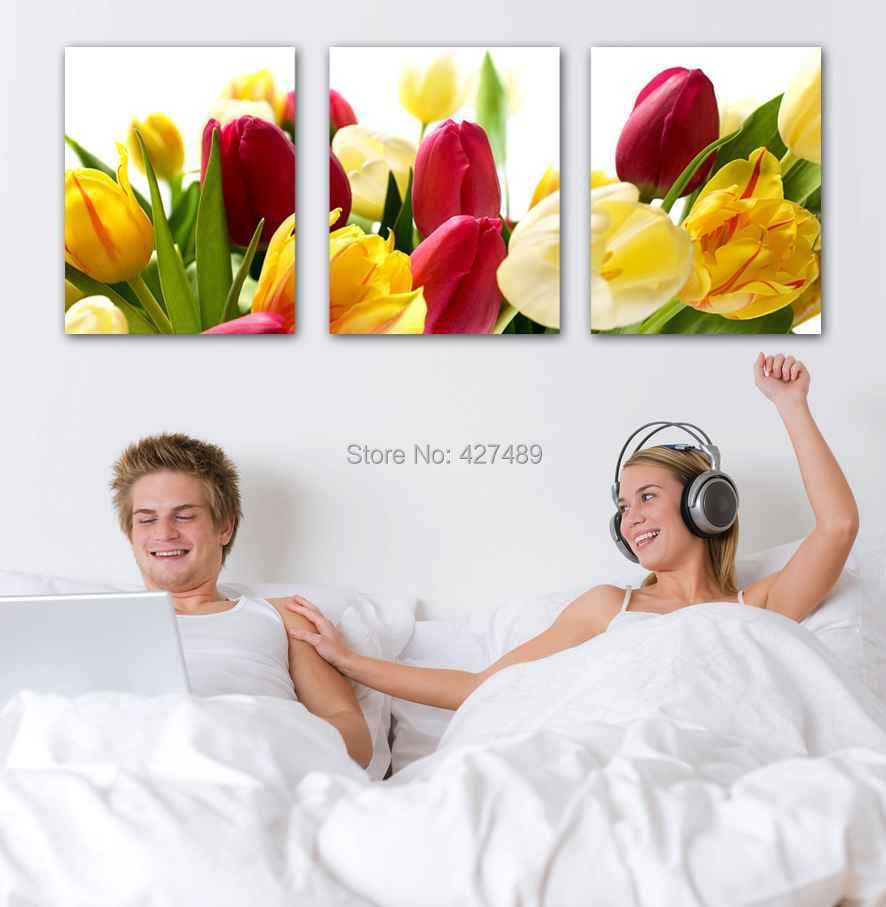3 Panel modern wall art home decoration frameless oil painting canvas prints pictures P298 colorful tulip flowers bedroom decor - Ann Taylor's Store store