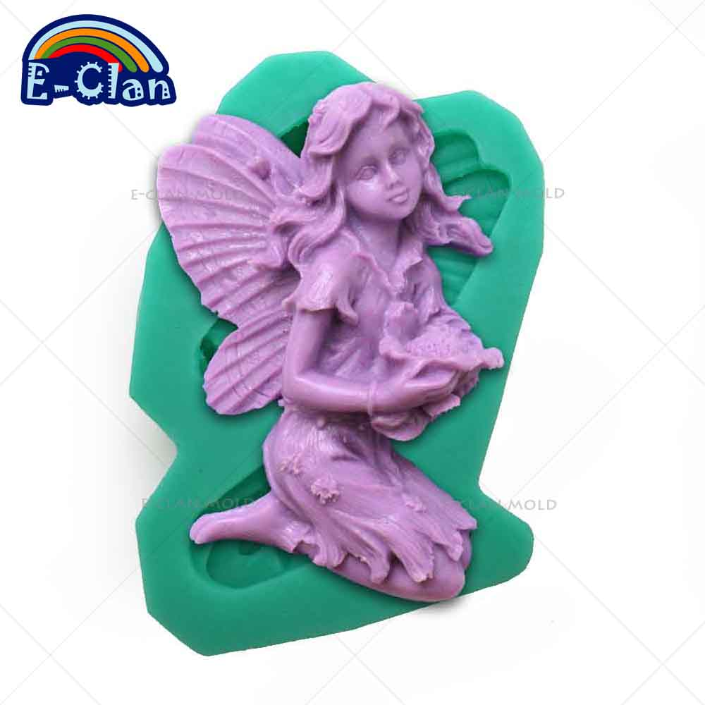 3D angel silicone soap mold fairy resin clay candle molds chocolate ...