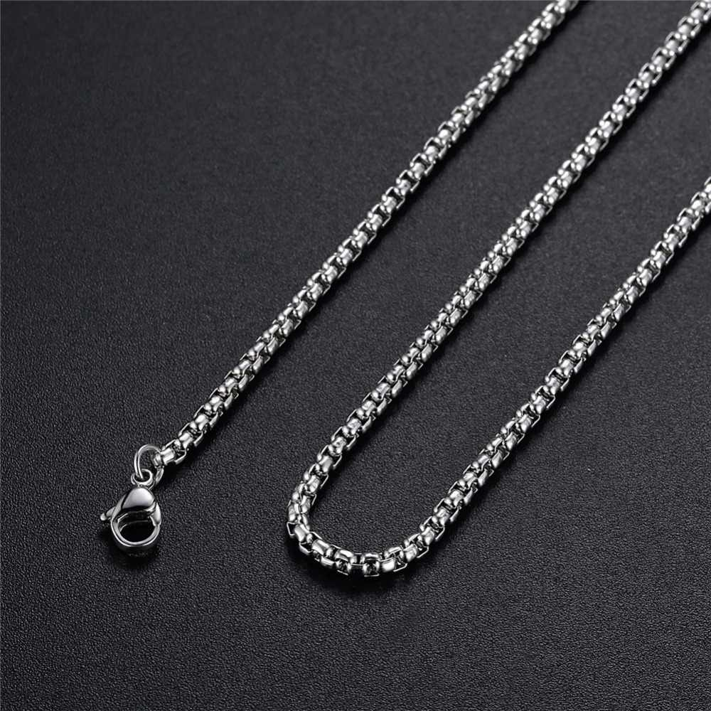 Wholesale Low Price Stainless Steel 2.5MM Square Pearl Chain Necklace Fashion Unisex Jewelry Length 50-70CM Fit Pendant