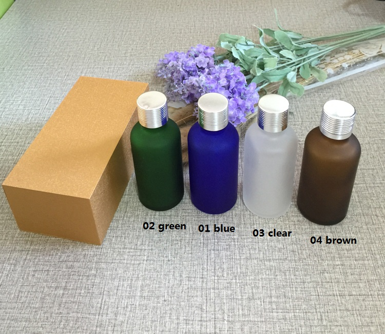 4pcs 50ml High-grade frosted essential oil bottle with wooden box packing silver cap glass bottle,lotion cosmetics powder jar creativity essential oil blend true botanical 100% pure and natural undiluted high quality therapeutic grade blend of rosemary clary sage hyssop marjoram cinnamon 5 ml