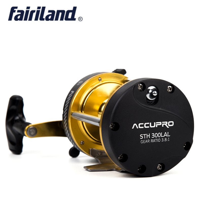 Fairiland 5BB 3.8:1 Trolling Boat Fishing Reel LEFT HAND 508g/17.9oz Drum Trolling Reel saltwater fishing tackle sea fishing 4bb right hand 4 1 1 fairiland drum trolling reel 18kg drag power boat fishing reel 2 colors 30a b avail saltwater freshwater