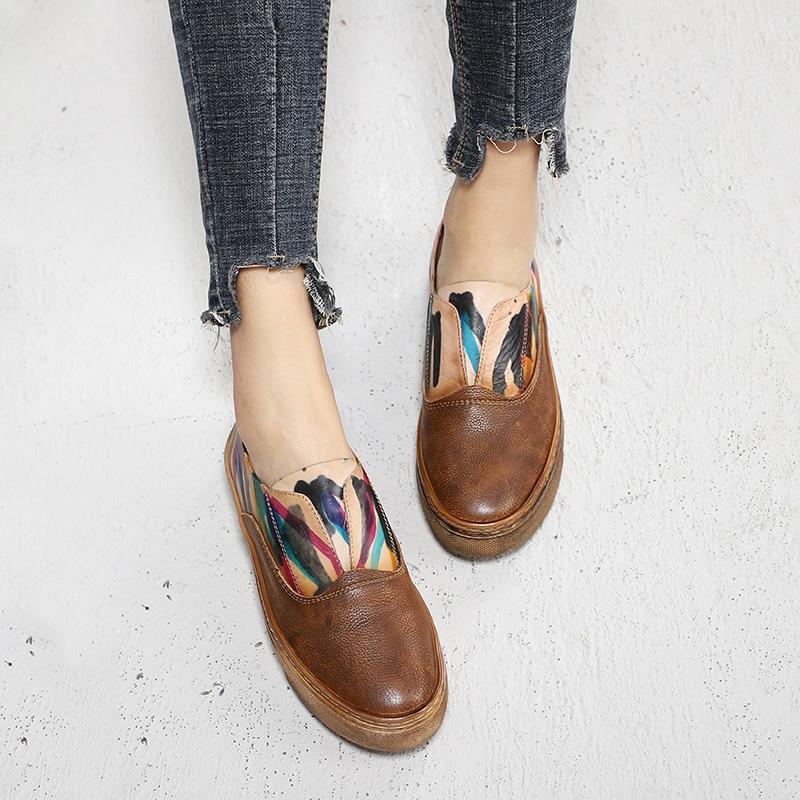 Zapatos de plataforma elegantes de mujer frescos pintados a mano zapatos planos casuales de cuero Natural para mujer-in Zapatos planos de mujer from zapatos    1