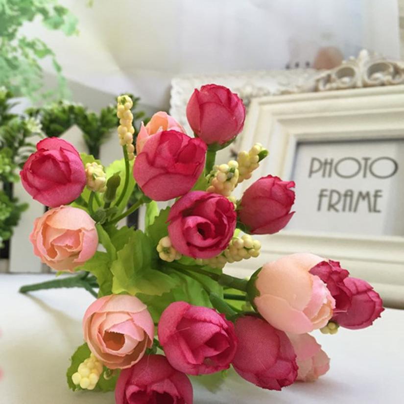 15 chefes artificial rose flor de seda falsificado folha home decor buqu de noiva wonderful35 - Flor Decor