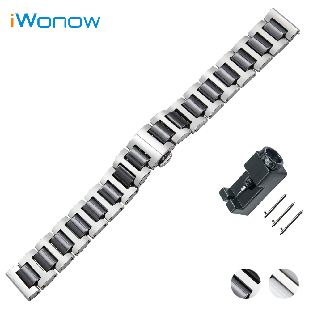 Ceramic + Stainless Steel Watch Band 18mm 20mm 22mm for Rolex Quick Release Strap Butterfly Buckle Wrist Belt Bracelet 18mm 20mm 22mm quick release watch band butterfly buckle strap for tissot t035 prc 200 t055 t097 genuine leather wrist bracelet