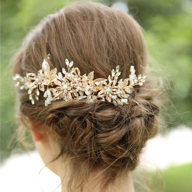 9234c9ade010 Золотые свадебные аксессуары для волос, расческа для волос с цветочным  свадебное ...