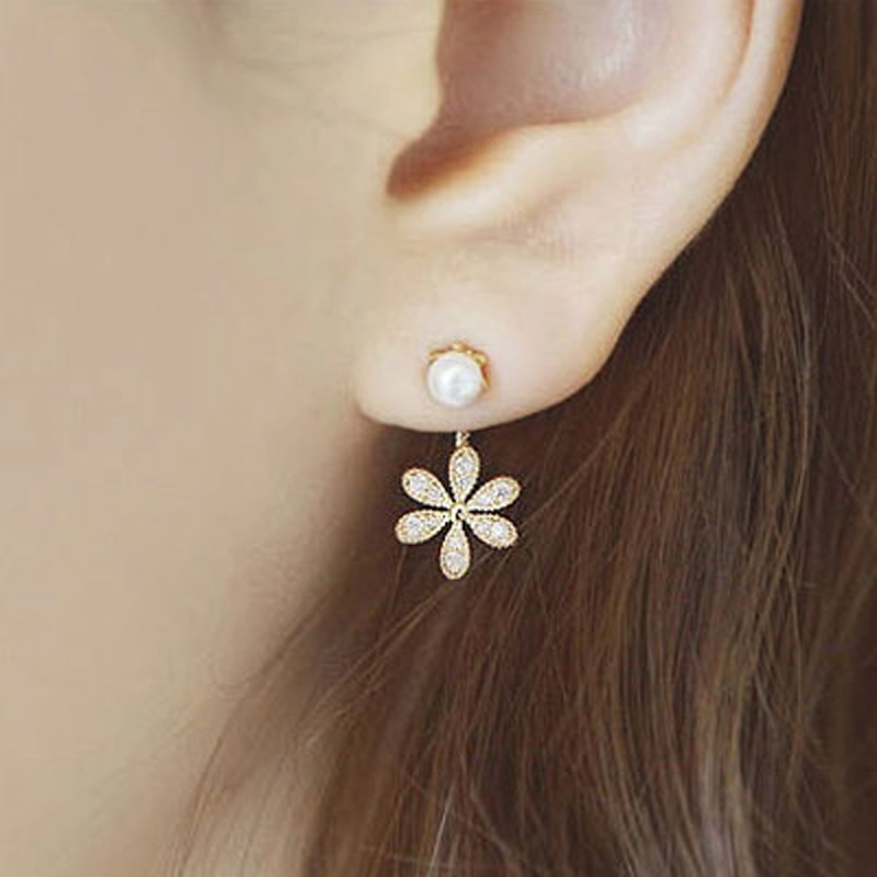 2018 New Summer Style Top Quality Ladies Pearl Rhinestone Five Leaves And Flowers Ear Stud Earrings Ear Ring For Women