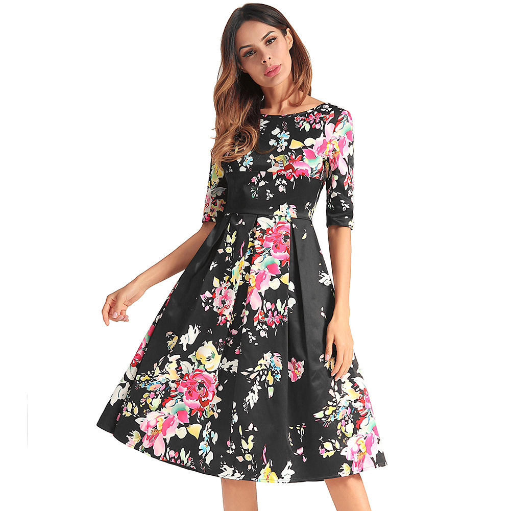 cross border installs source amazon hot style 2018 new HeBenZhong sleeve  full ed dress Printing even clothing Free Shipping-in Dresses from Women s  Clothing ... d6504cd5775f