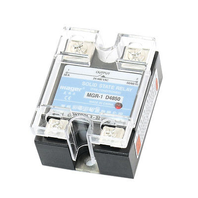 MGR-1 D4850 DC 3-32V to AC 24-480V 50A Solid State Relay w Clear Cover normally open single phase solid state relay ssr mgr 1 d48120 120a control dc ac 24 480v