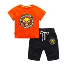 Купить с кэшбэком 2019 new sports suit children summer boys and girls set cotton cartoon duck short-sleeved T-shirt + shorts children's clothing