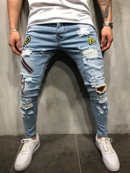 2018 new Men Ripped Distressed Slim Fit Elastic Stretch Patches Male streetwear hiphop Hole Denim Pants Biker denim trousers 1