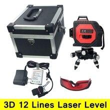 12 Linien 3D Laser Level Selbstverlaufende 360 Horizontale Und Vertikale Kreuz Super Leistungsstarke Roten Laserstrahl Linie mit Outdoor Modus