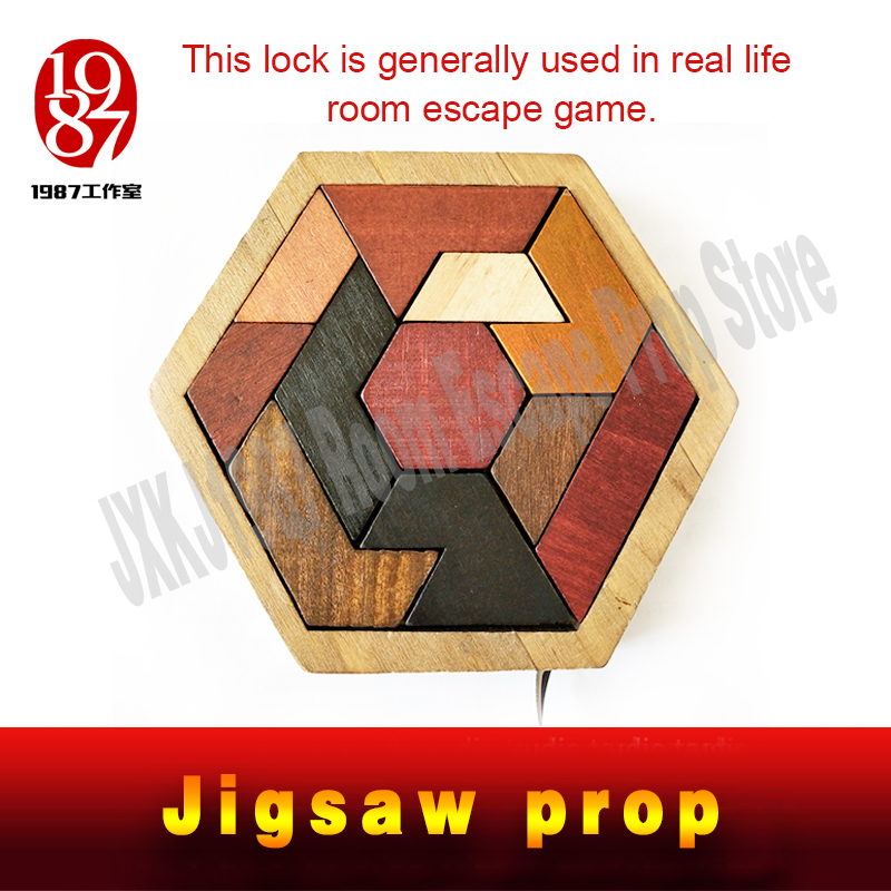 Escape room prop Tangram Prop real life room escape game finish jigsaw puzzles to unlock secret chamber room by JXKJ1987