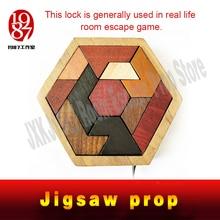 JXKJ1987 Escape room prop Tangram Prop real life room escape game finish jigsaw puzzles to unlock secret chamber room