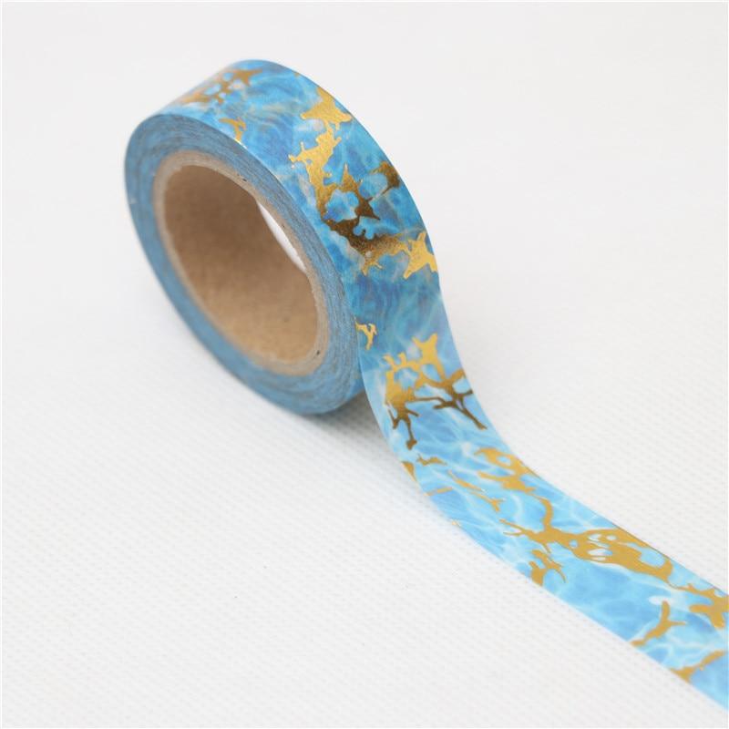 15mm*10m Foil Washi Tape Japanese Kawaii Scrapbooking Tools Masking Tape Christmas Photo Album Diy Decorative Tapes