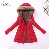 SSLine 2018 Hot Women Winter Parka Pockets Coat Solid Cotton Long Parkas Womens Slim Office Lady