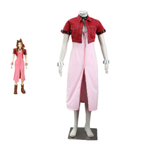 Game Final Fantasy VII 7 Cosplay Costumes Aerith Aeris Gainsborough Pink Dress