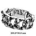 Large Heavy Biker Bracelet Stainless Steel Bracelet Gothic Link Wrist Silver Black Skull Heart Bracelet Size  30x235mm