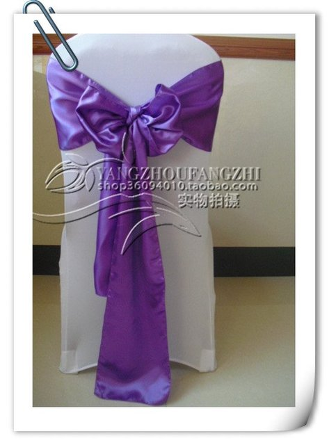 purple satin  sash/chair cover sash/satin chair bow/satin chair sash