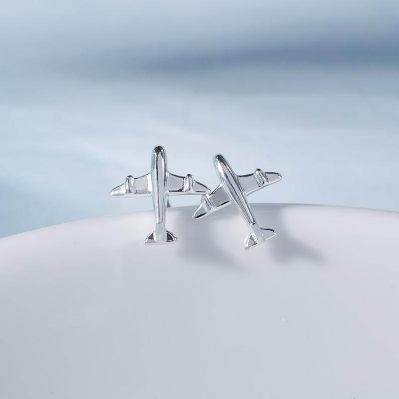 Nova moda bonito prata cor 3d avião avião parafuso prisioneiro brincos para mulher menina artesanal minúsculo
