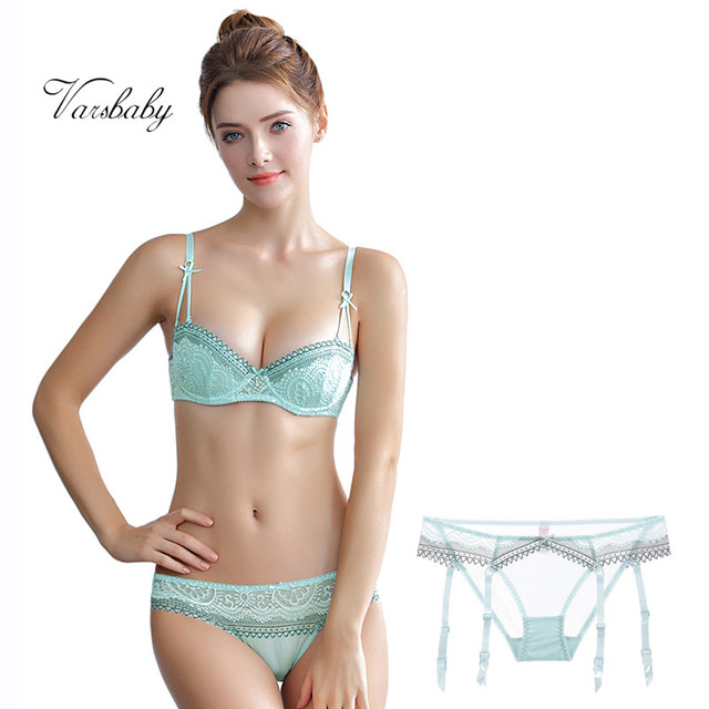 Varsbaby sexy unlined underwire half cup lace underwear set 1 bras +2 panties 3 pcs/lots for lady