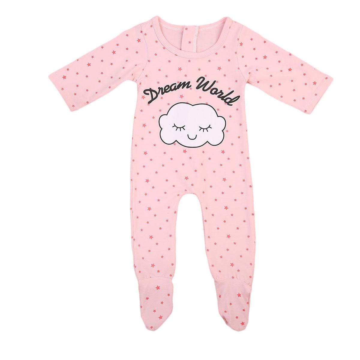 Dream World Babies Little Stars Printing Footy Newborn Baby Girls Pink Cloud Footies Pajamas Sleepwear Pyjamas Clothes Playsuit