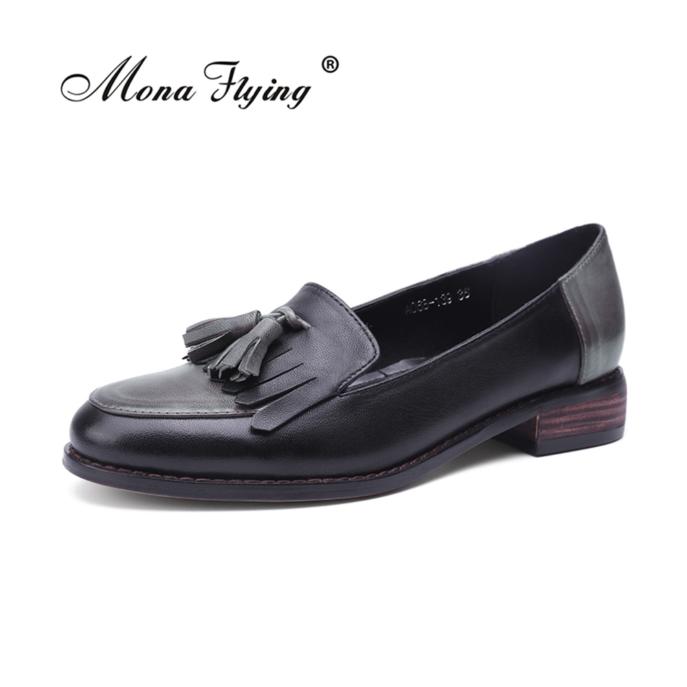 2018 Women Flats Leather Oxford Shoes For Women Big Size Shoes Brand Vintage Flats Shoes Round Toe Handmade Women Shoes A068-139 women flats oxford shoes big size flat genuine leath vintage shoes round toe handmade black 2017 oxfords shoes for women