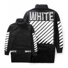 2015 Autumn and winter off white stripe slanting letter male turtleneck sweatshirt outerwear
