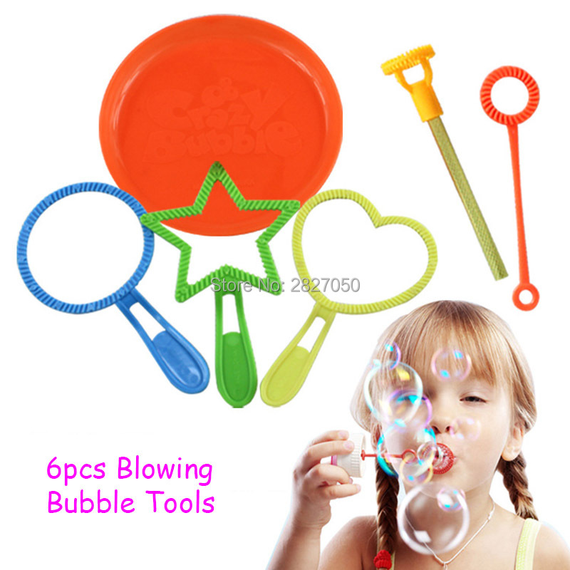 6pcs/lot Blowing Bubble Soap Tools toy Bubble Sticks Set Outdoor Bubble toys for children