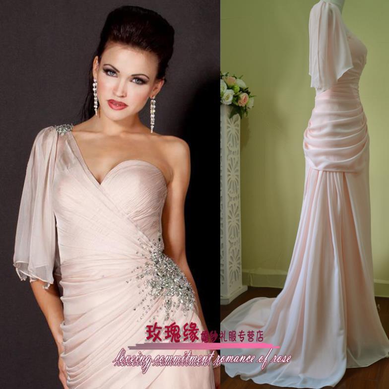 2018 one shoulder decoration vestido de noiva formal floor length crystal beaded banquet vestido de noiva   bridesmaid     dresses