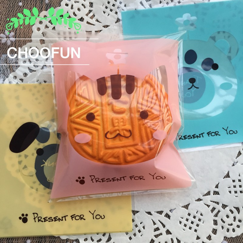 100pcs/lot Cute Bear Birthday Party Cookie and Candy Packaging Bags OPP Self Adhesive Seal Christmas Gift Plastic Bag BZ240