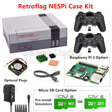 Discount! NESPi Case Retroflag Kit with Fan+2 Pcs 2.4GHz Wireless Gamepads+Optional 16G/32G Micro SD Card+Optional Raspberry Pi 3 Board