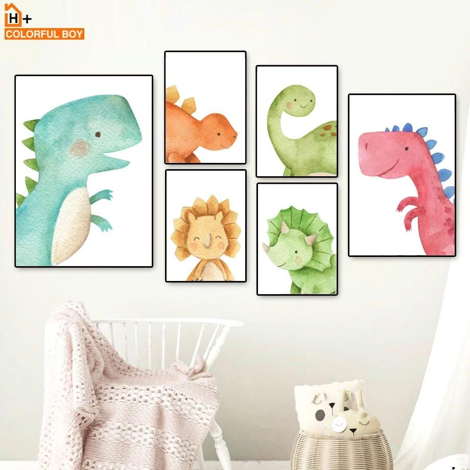 Cute Dinosaur Cartoon Poster Print Wall Art Canvas Painting Baby Kids Room Decor